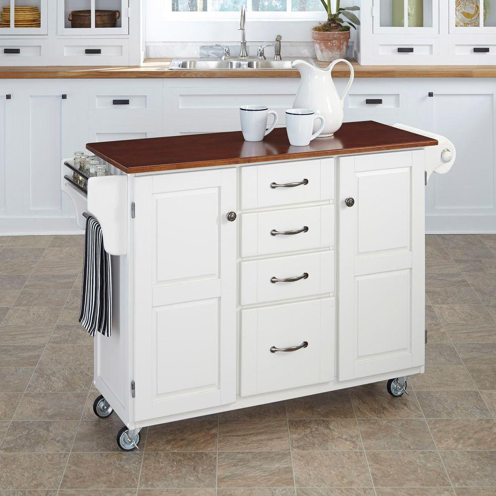 Trinity White Kitchen Cart With Drawers Pull Out Tray