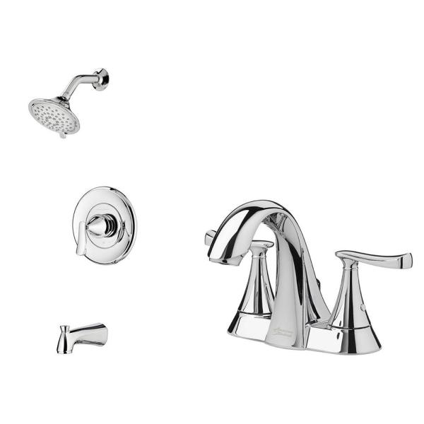 Chatfield Single-Handle 3-Spray Tub and Shower Faucet and 4 in. Centerset Bathroom Faucet Set in Polished Chrome