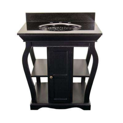 Vineta 30 in. Vanity in Black with Granite Vanity Top in Black with Black Nickel Pebble Undermount Sink