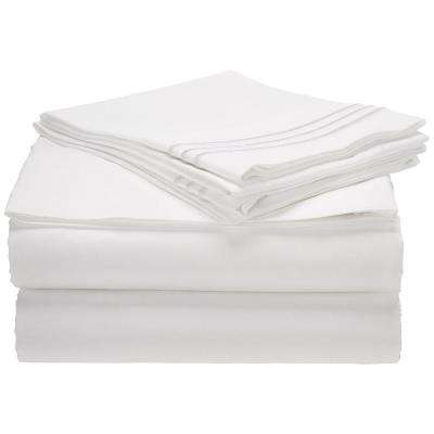 1500 Series 3 Line White Embroidered Microfiber Queen Size Bed Sheet Set