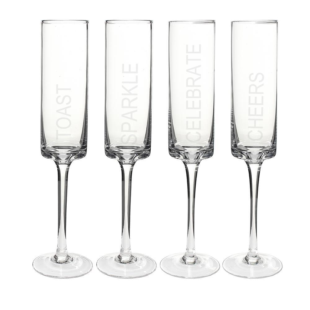 Celebrate 8 oz. Glass Contemporary Champagne Flutes CB3668-4
