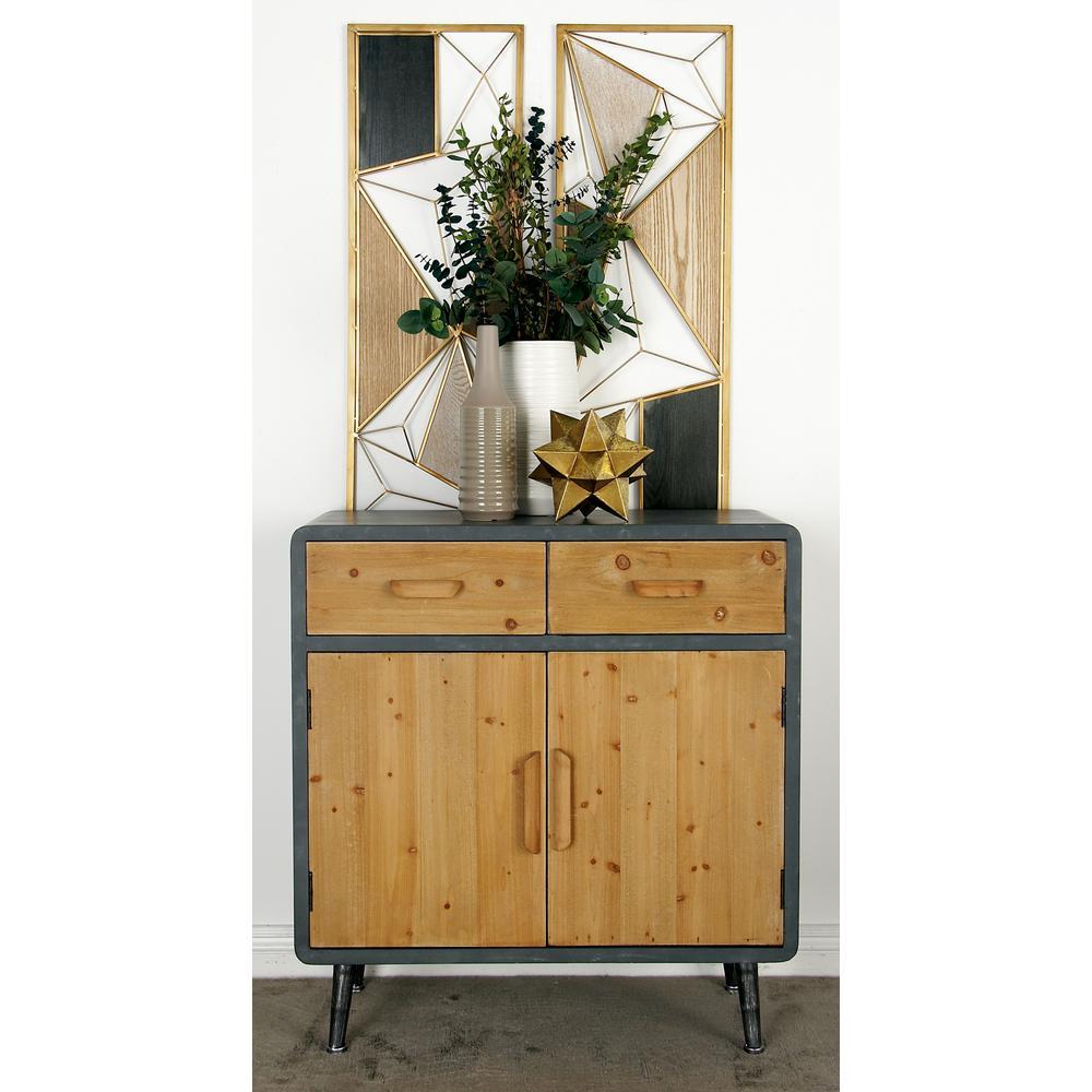 Gray Rectangular 2-Door Cabinet with 2-Top Drawers