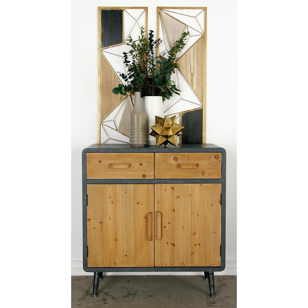 Gray Rectangular 2-Door Cabinet with 2-Top Drawers