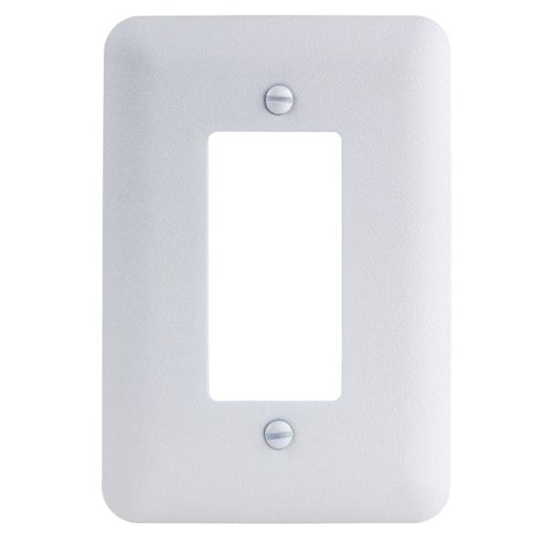 1-Gang Decorator Maxi Metal Wall Plate, White Textured