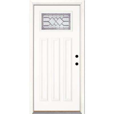 33.5 in. x 81.625 in. Mission Pointe Zinc Craftsman Unfinished Smooth Left-Hand Inswing Fiberglass Prehung Front Door