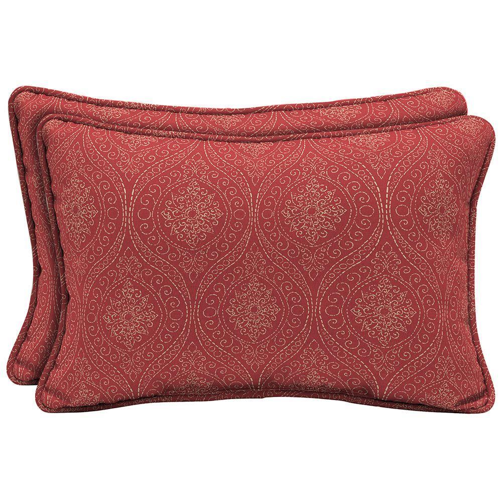 Hampton Bay Chili Stitch Ogee Lumbar Outdoor Pillow 2 Pack