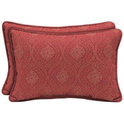 Chili Stitch Ogee Lumbar Outdoor Pillow (2-Pack)