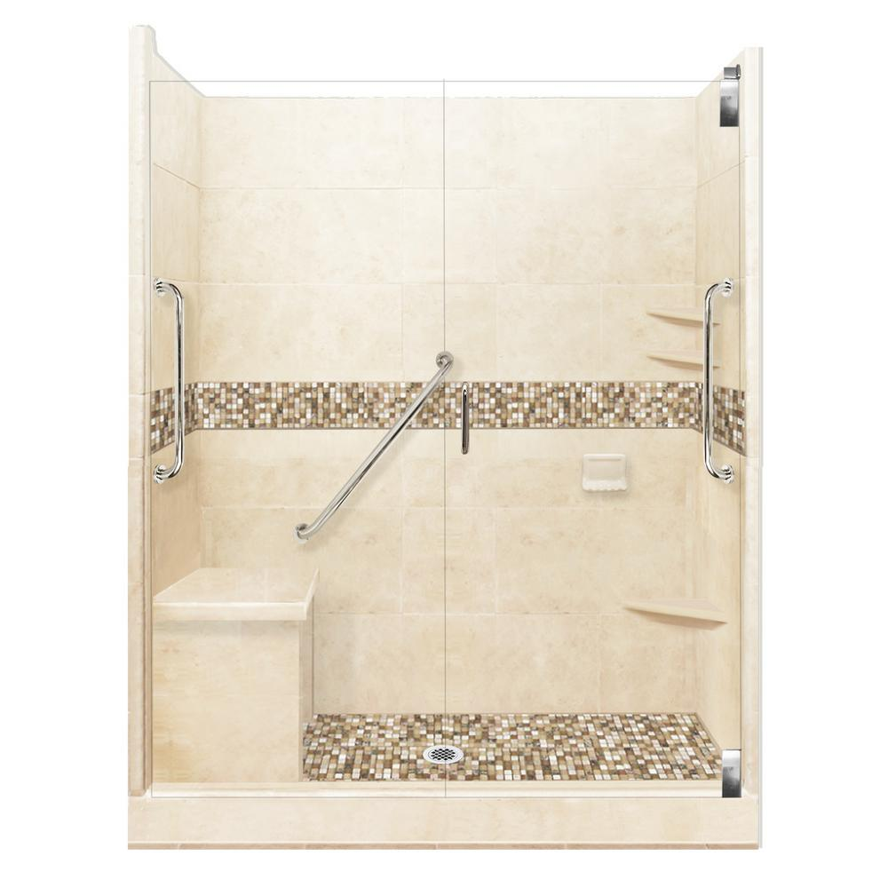 American Bath Factory Roma Freedom Grand Hinged 42 in. x 60 in. x 80 in. Center Drain Alcove Shower Kit in Desert Sand and Chrome Hardware