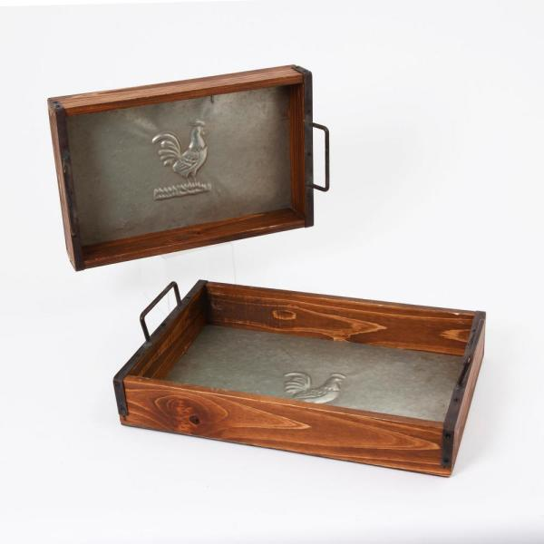 Brown Wood Trays with Metal Accents (Set of 2)