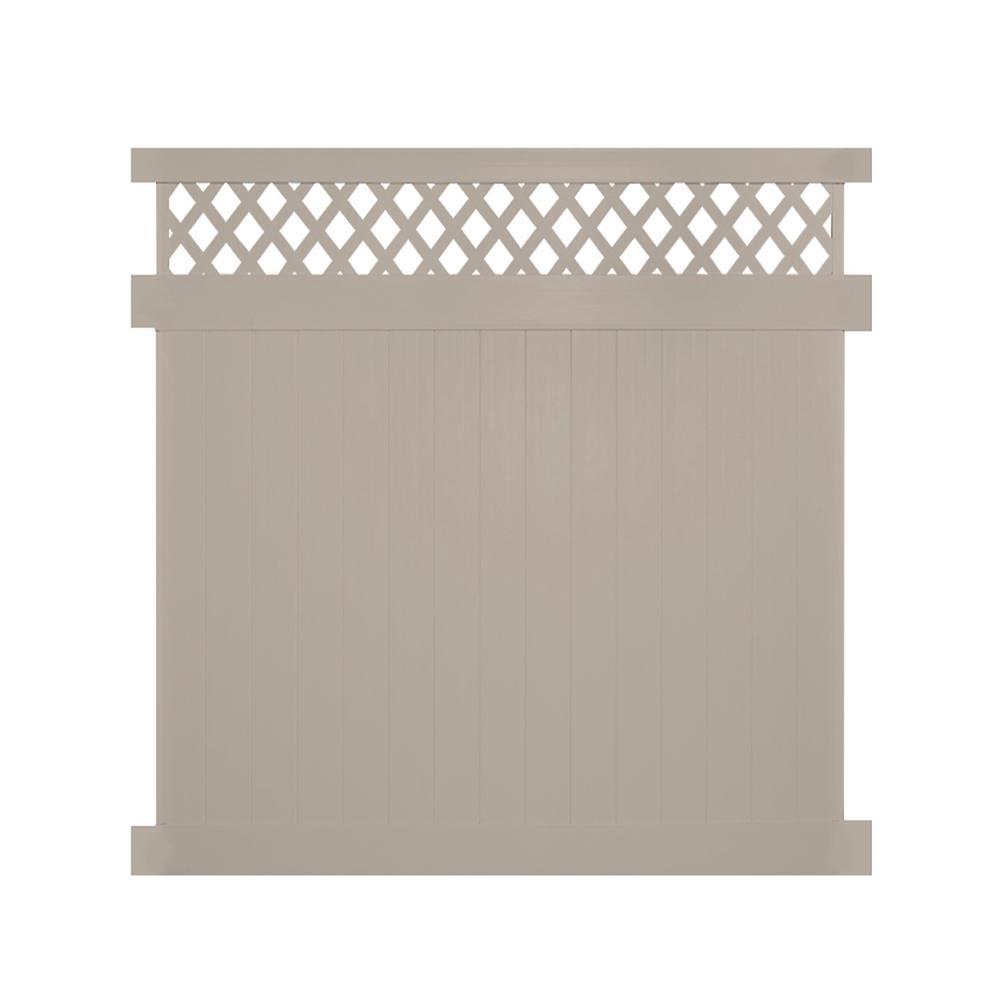 Ashton 7 ft. H x 8 ft. W Khaki Vinyl Privacy Fence Panel