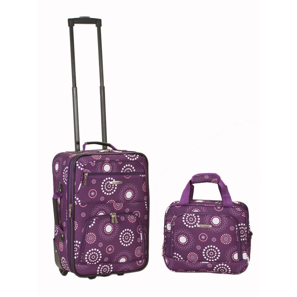 Rockland Rio Expandable 2-Piece Carry On Softside Luggage Set, Purplepearl