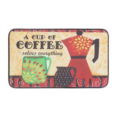 Coffee Mama 18 in. x 30 in. Anti-Fatigue Faux Leather Kitchen Mat