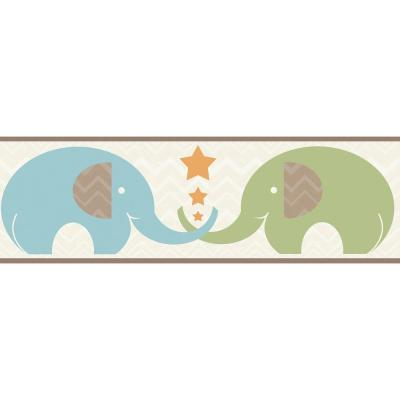 Tobi Brown Elephant Love Brown Wallpaper Border