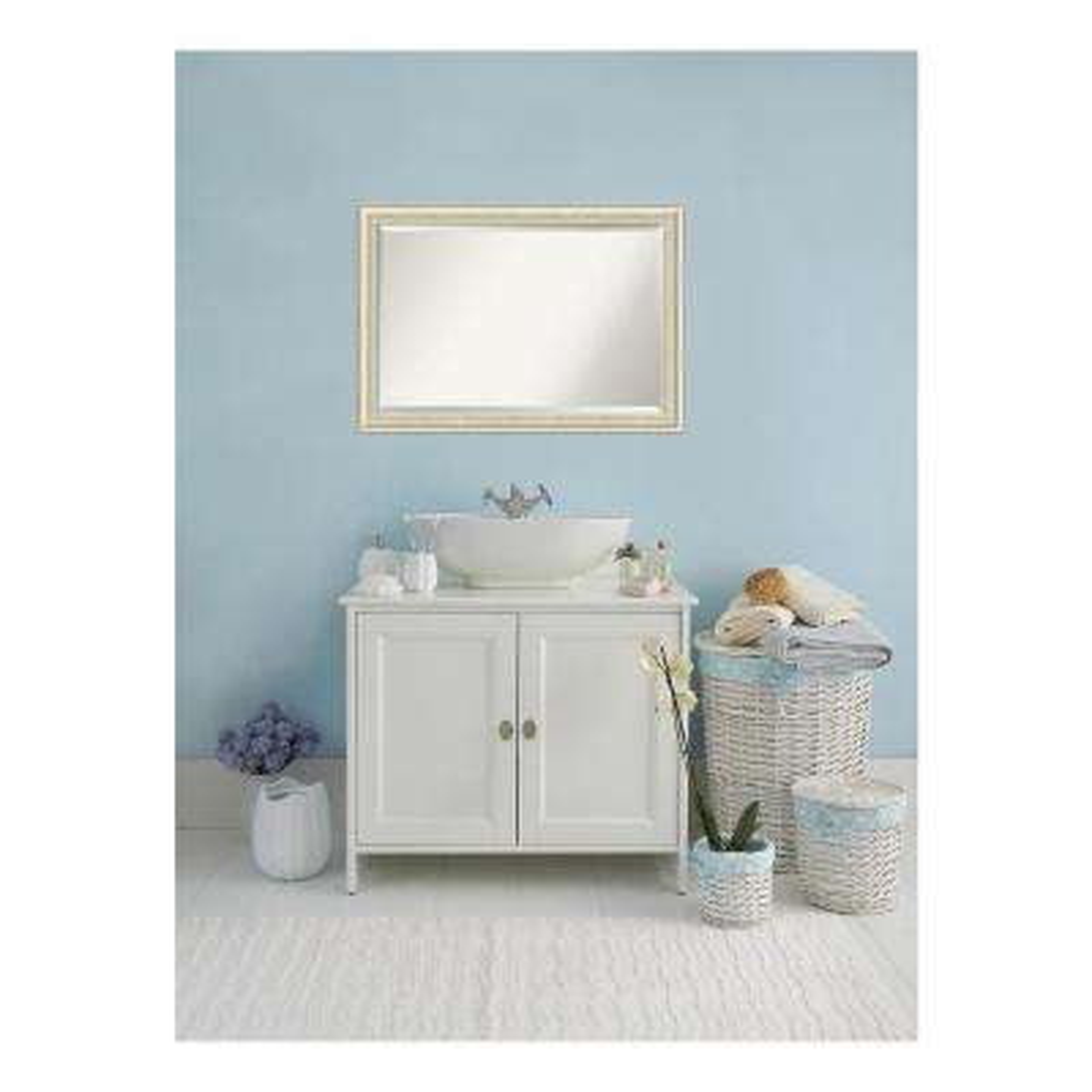 Country Rustic Whitewash Cream Wood 41 in. W x 29 in. H Single Distressed Bathroom Vanity Mirror
