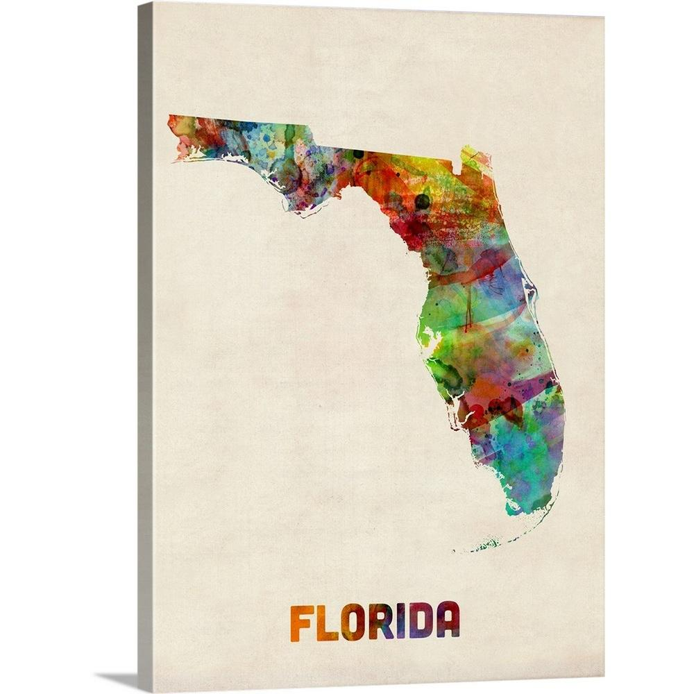 Greatbigcanvas Florida Watercolor Map By Michael Tompsett Canvas