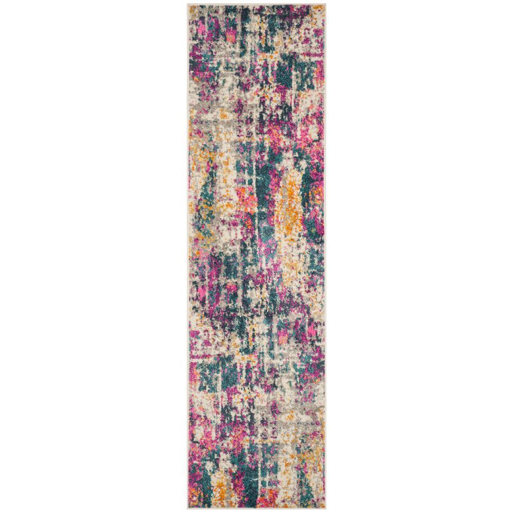 Madison Ivory/Blue 2 ft. 3 in. x 8 ft. Runner Rug