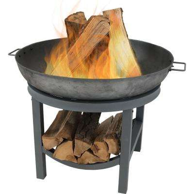 35 in. W x 24 in. H Round Cast-Iron Wood Burning Fire Pit with Built-in Log Rack
