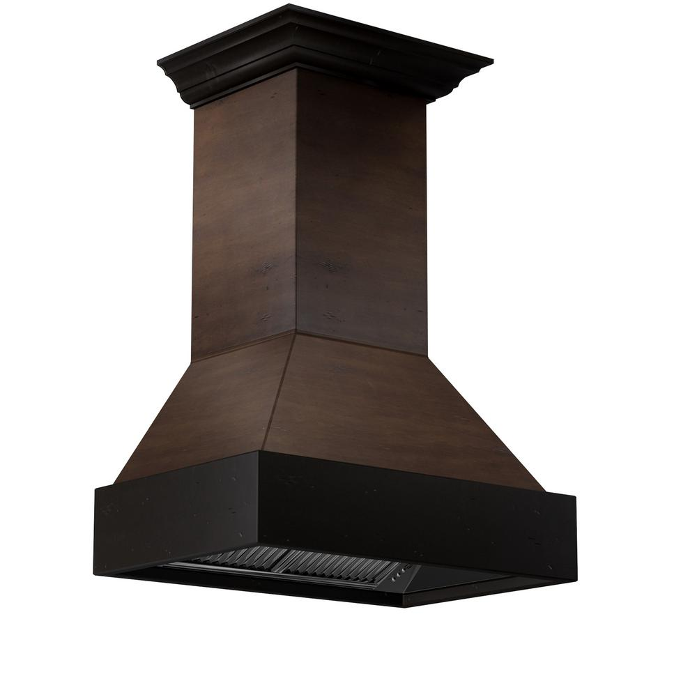 Zline Kitchen And Bath Zline 30 In. 900 Cfm Wooden Wall Mount Range Hood In Antigua And Hamilton, Solid Birch Wood Exterior With Distressed Finish: Anitgua Band & Crown/hamilton Body & Chimney