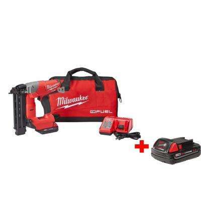 M18 FUEL 18-Volt Lithium-Ion Cordless Brushless 18-Gauge Brad Nailer Kit with Free M18 2.0Ah Battery
