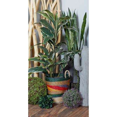 Cylindrical Wicker Shichito Matgrass Baskets with Handles (Set of 3)