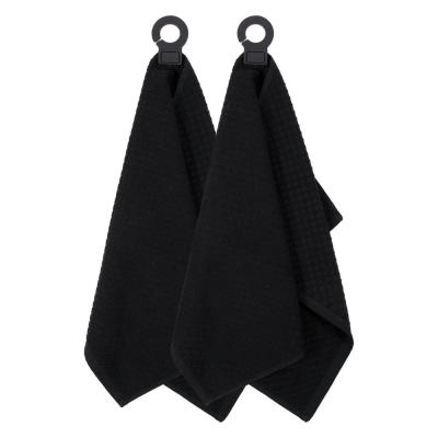Hook and Hang Black Woven Cotton Kitchen Towel (Set of 2)