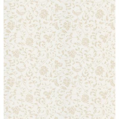 Cottage Living White Jacobean Stencil Wallpaper Sample