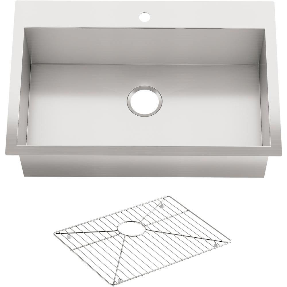 Kohler Vault Drop In Undermount Stainless Steel 33 In 1 Hole Single Bowl Kitchen Sink