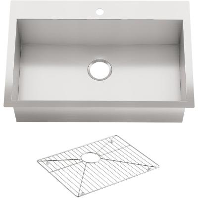 Vault Dual Mount Stainless Steel 33 in. 1-Hole Single Bowl Kitchen Sink with Basin Rack