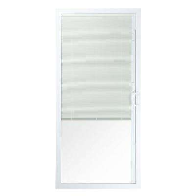 72 in. x 80 in. 50 Series White Vinyl Sliding Patio Door Right-Hand Moving Panel with Blinds