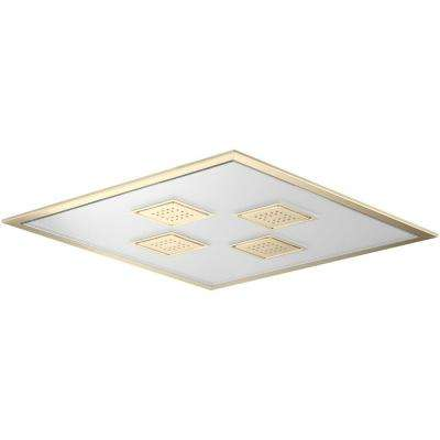 WaterTile Ambient Rain 1-spray Single Function 21 in. Overhead Showerhead in Vibrant French Gold