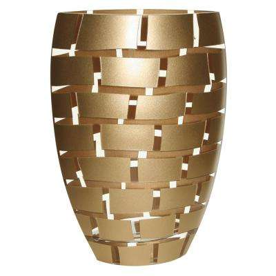 12 in. Gold Wall Design Mouth Blown European Decorative Vase