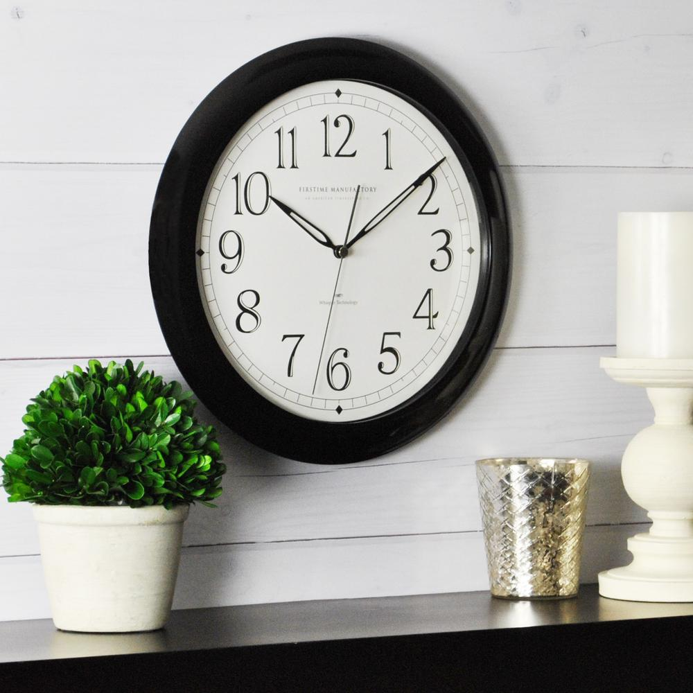 Wall clocks wall decor the home depot black round slim wall clock amipublicfo Gallery