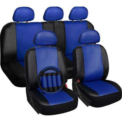 Polyurethane Seat Covers 21.5 in. L x 21 in. W x 31 in. H Seat Cover Set Blue and Black (17-Piece)