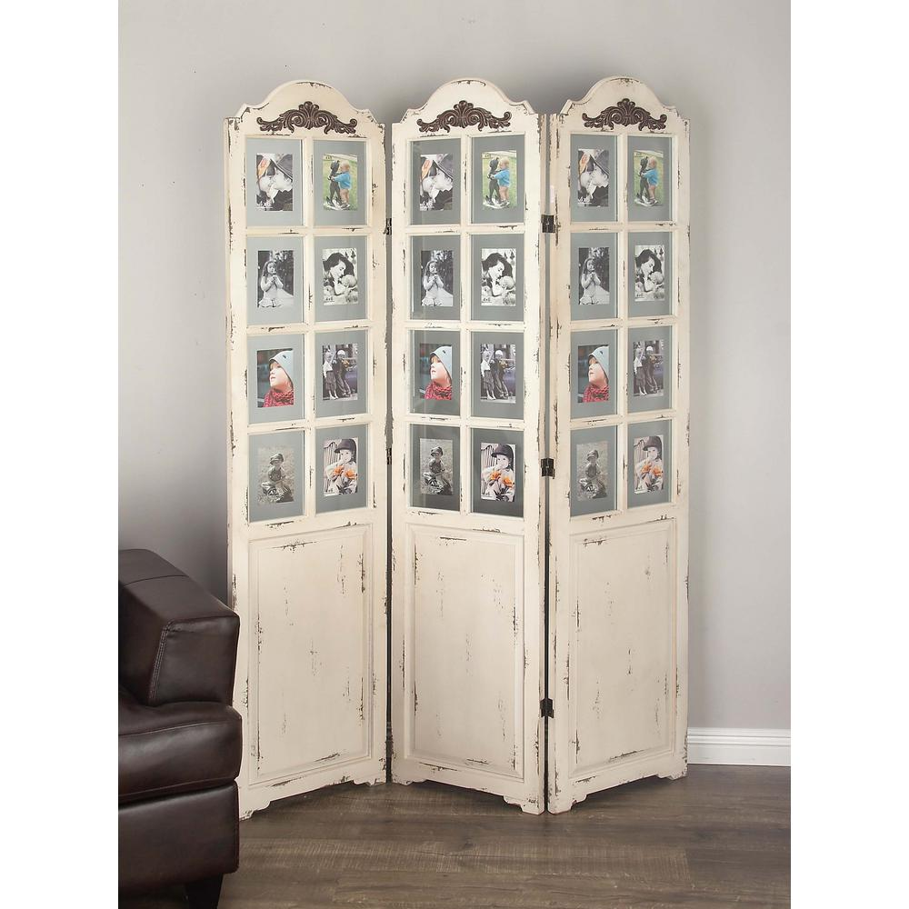 Litton Lane 76 in. x 52 in. Classic Wooden White Screen with Clear ...