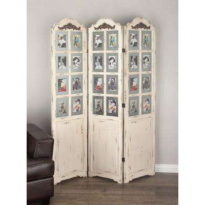 76 in. x 52 in. Classic Wooden White Screen with Clear Glass Photo Frames