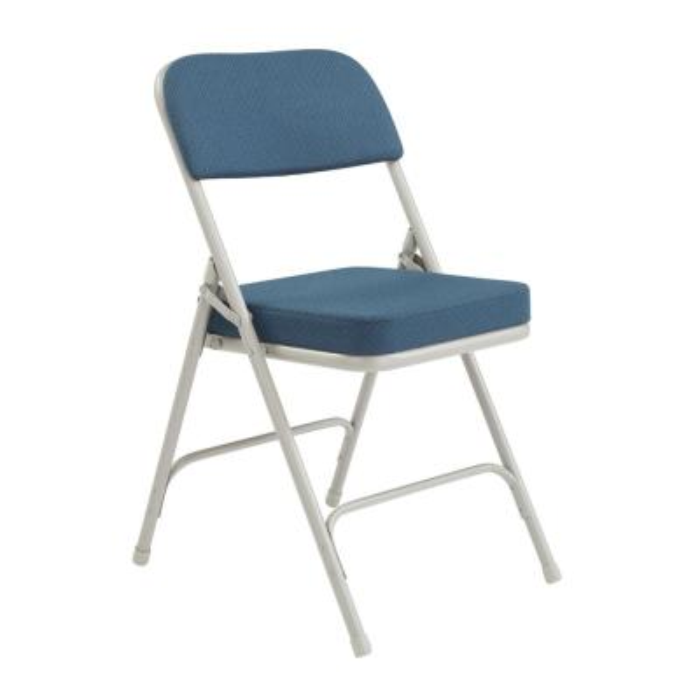 Navy Metal Frame Padded Seat Folding Chair (Set of 2)