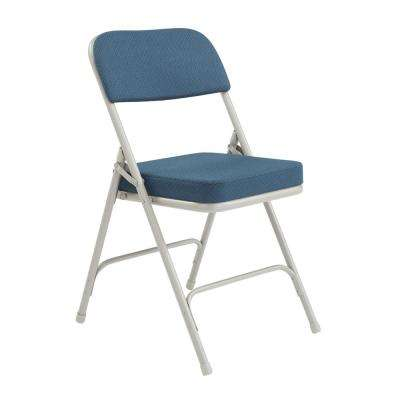 Navy Metal Frame Padded Seat Folding Chair (Set of 2)