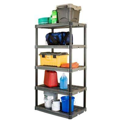 24 in. x 36 in. 5-Shelf Heavy-Duty Black and Grey Shelving Unit