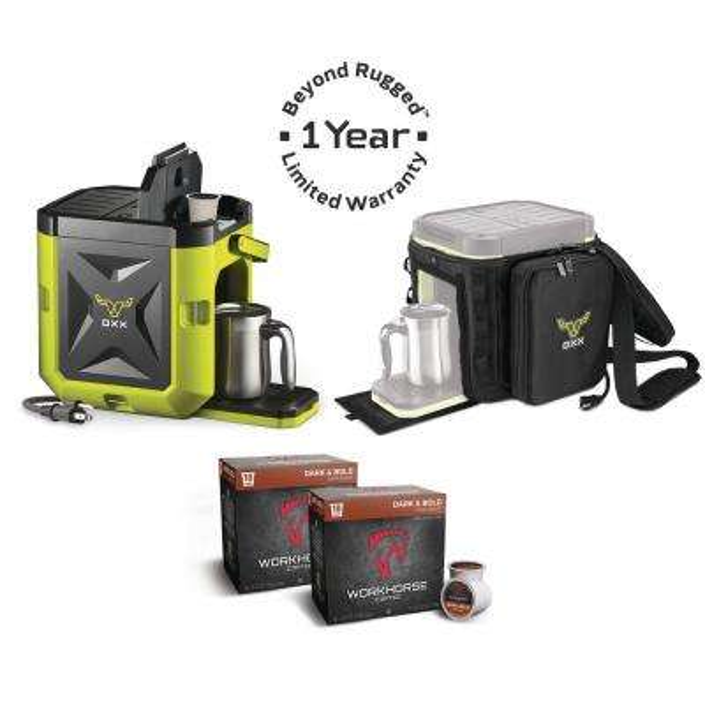 COFFEEBOXX Single Serve Coffee Maker in Hi Viz Green with Accessory Kit