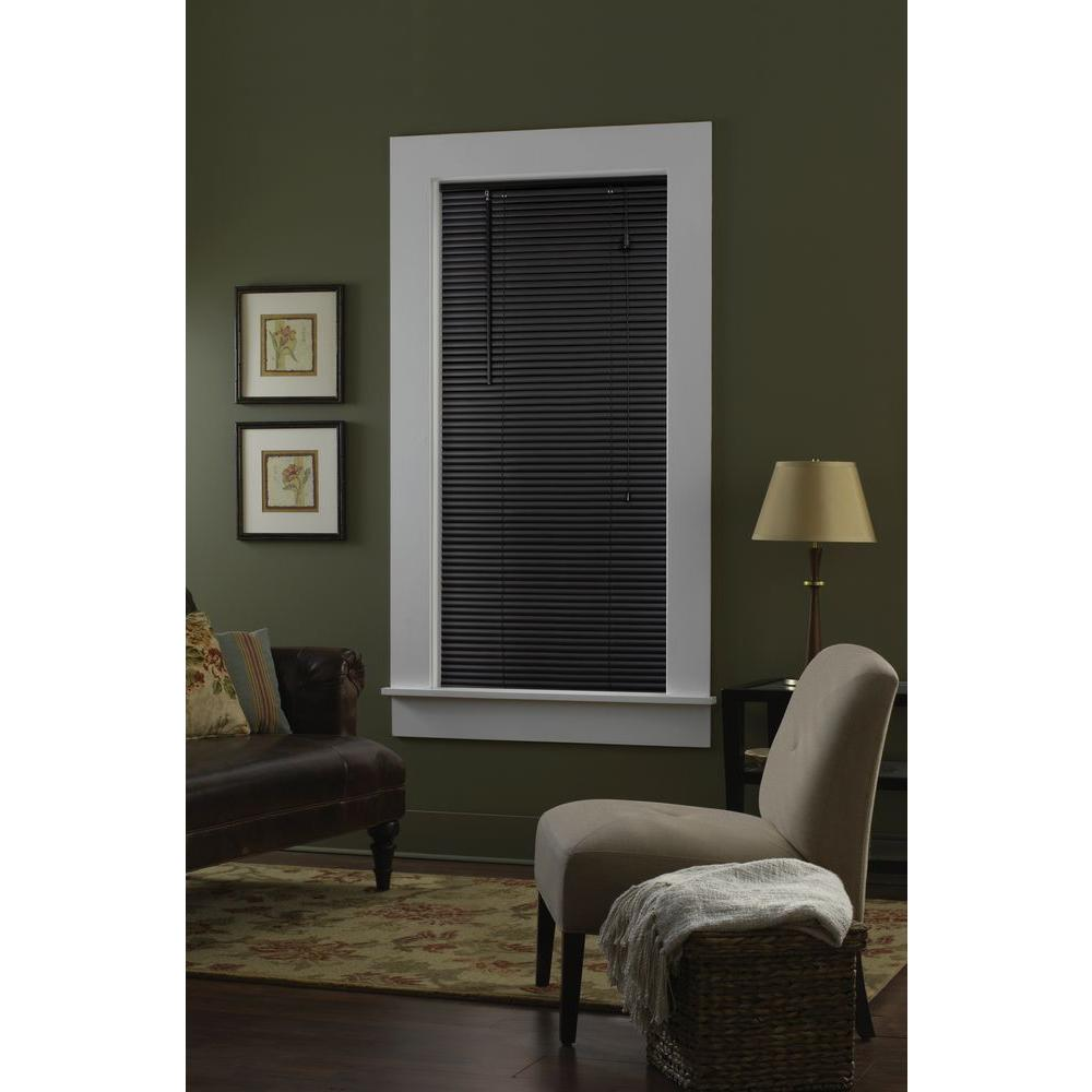 Bali Cut-to-Size Black 1 in. Blackout Vinyl Mini Blind - 64 in. W x 72 in. L (Actual Size is 63.5 in. W x 72 in. L)