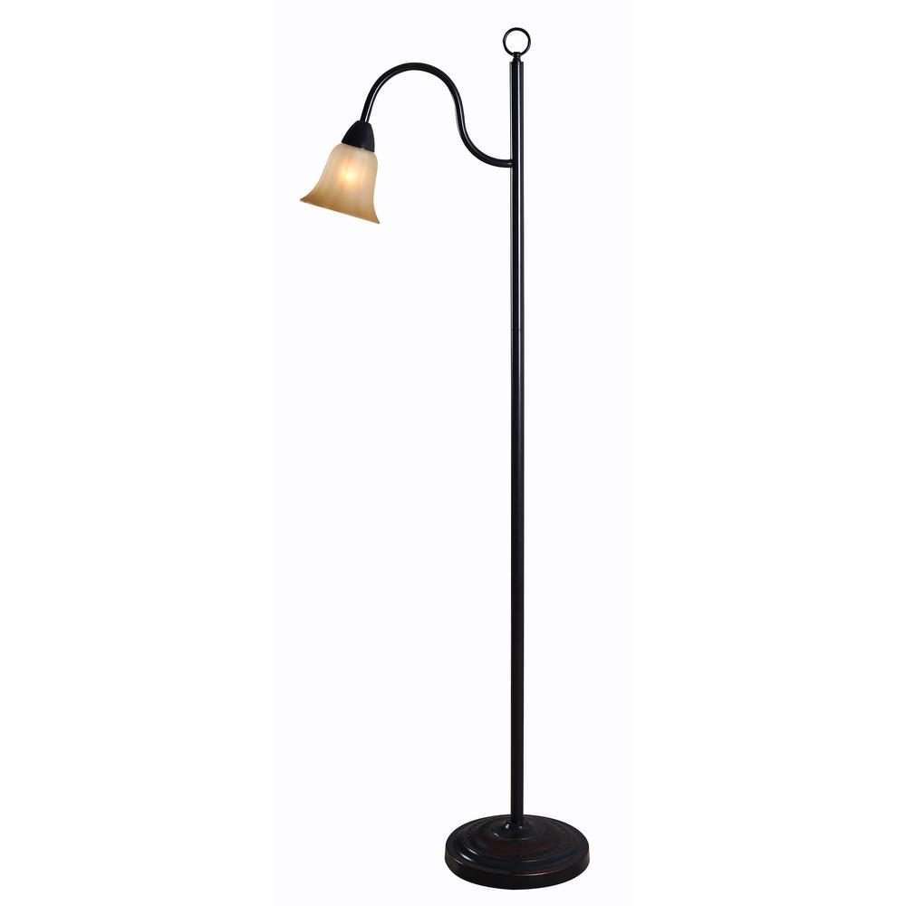 Hildene 62 in. Bronze Floor Lamp with Amber Glass Shade