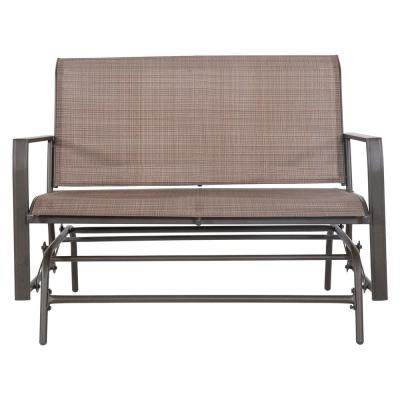 Amora 45 in. 2 Person Brown Steel Outdoor Glider