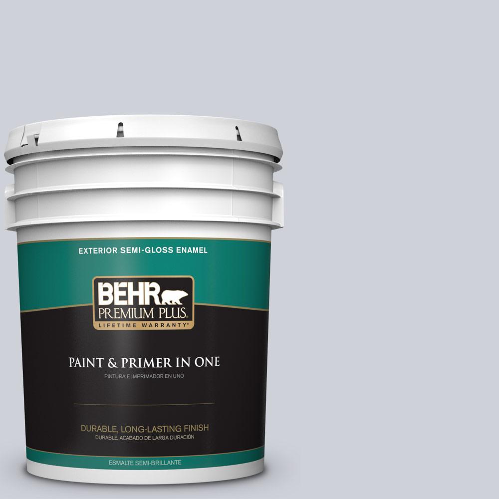 BEHR Premium Plus 5 gal. #MQ3-61 Moonlit Snow Semi-Gloss Enamel Exterior Paint and Primer in One