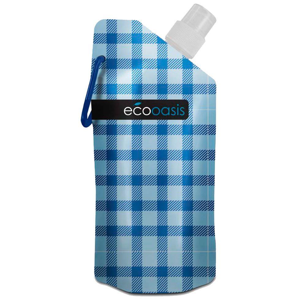 SmartPlanet ECO Oasis 16 oz. Foldable Water Bottle Blue Plaid