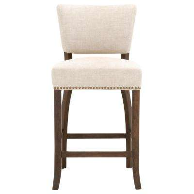 Oscar 26 in. Bisque French Linen, Rustic Java Oak Counter Stool