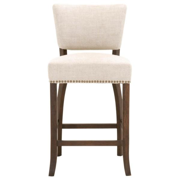 Orient Express Furniture Oscar 26 In Bisque French Linen Rustic Java Oak Counter Stool