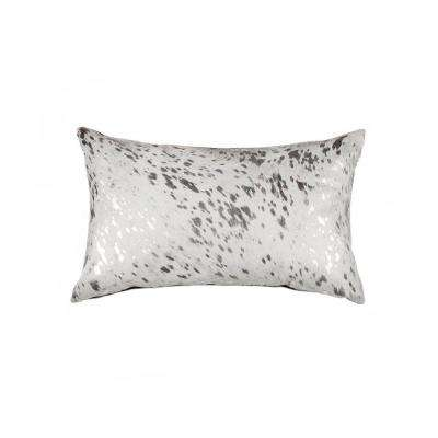 Torino Scotland Silver and Grey 12 in. x 20 in. Cowhide Pillow