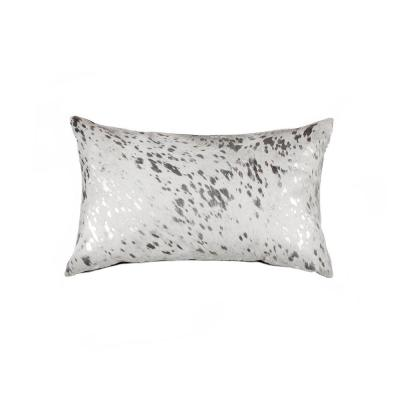Torino Scotland Cowhide Silver & Gray Animal Print 12 in. x 20 in. Throw Pillow