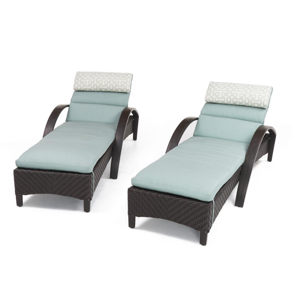 Rst Brands Barcelo 2 Piece Wicker Outdoor Chaise Lounge With Sunbrella Spa Blue Cushions