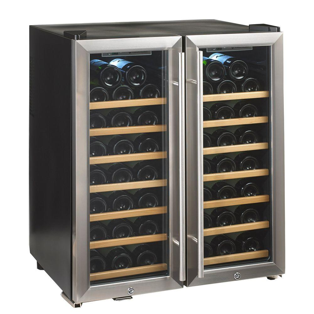 Wine enthusiast silent 48 bottle dual zone wine cooler for Modern homes 8 bottle wine cooler